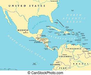 mezzo, america, politico, mappa