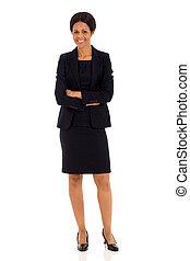 mezzo, età, africano, donna d'affari