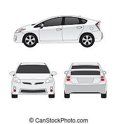 mezzo, formato, città, automobile, vettore, illustrazione