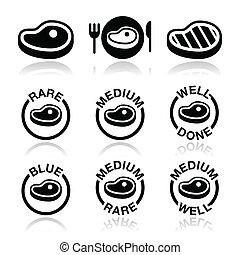 mezzo, raro, -, fatto, bistecca, icona