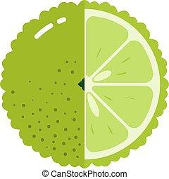mezzo, sagoma, frutta, sfera, disegno, bergamotto, isolato, bianco, logotipo, fondo, appartamento, icona, concetto, fetta