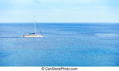mezzo, vele, yacht, mare, navigazione