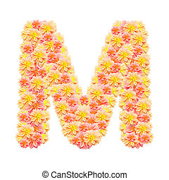 M,flower alphabet isolated on white