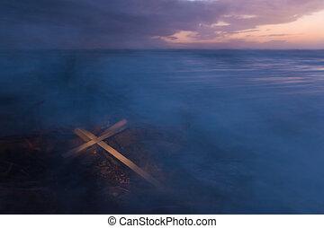 mgła, krzyż, burza