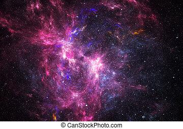 mgławica, głęboki, gwiazdy, przestrzeń