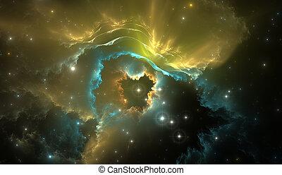 mgławica, gwiazdy, tło, przestrzeń