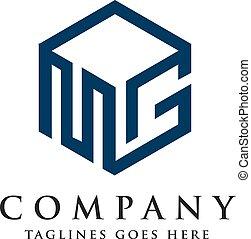 mg, cuadrado, logotipo, carta, diseño, 3d