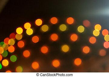 mglisto, światła, zabudowanie., pomarańcza