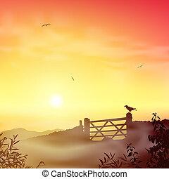 mglisty krajobraz, rano