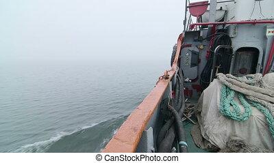 mglisty, ruchomy, wędkarski, morze, naprzód, łódka