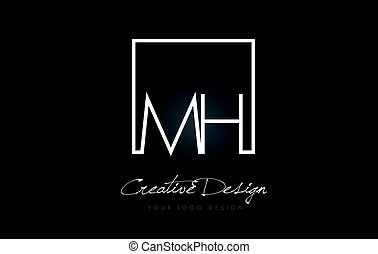 MH Square Frame Letter Logo Design with Black and White Colors.
