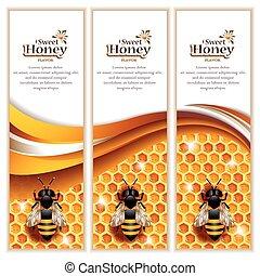 miód, chorągwie, z, pracujący, pszczoły