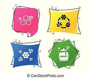 miód, icon., plaster miodu, komórki, z, pszczoły, symbol., wektor