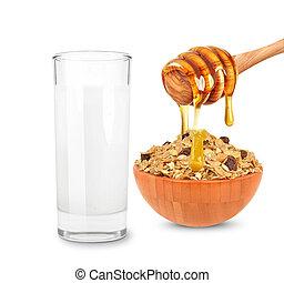 miód, mleczny, zboże