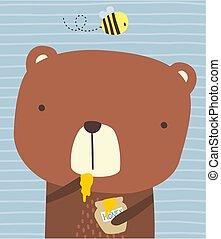 miód, sprytny, jeść, niedźwiedź