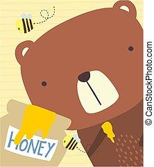 miód, sprytny, niedźwiedź