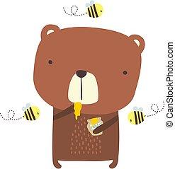 miód, sprytny, pszczoły, niedźwiedź