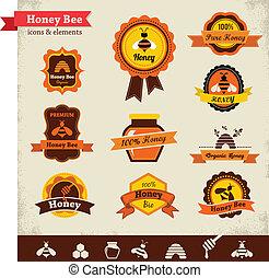 miód, wektor, komplet, pszczoła, etykieta