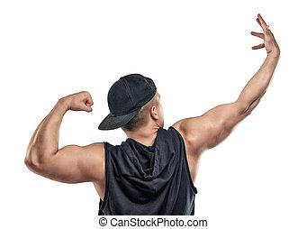 mięśnie, biceps., -, młody, muskularny, facet, ręka, widać