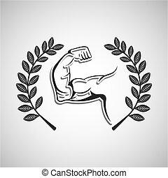 mięśnie, emblemat, gałąź, laur, sport, ręka