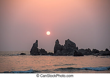 między, zachód słońca, morze, trzęsie się