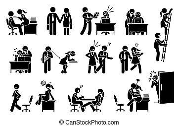 między, związek, biuro, sprawa, flirtując, miłość, workers., co