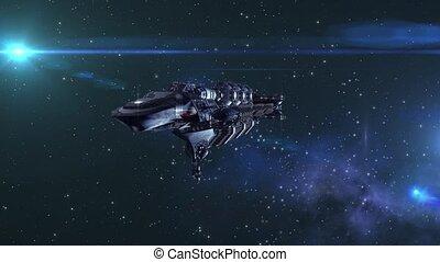 międzygwiezdny, futurystyczny, spacecraft