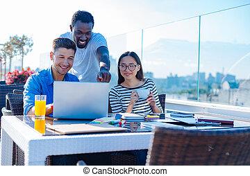 międzynarodowy, badając, grupa, student, outdoors
