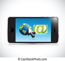 międzynarodowy, email, ilustracja, komunikacja
