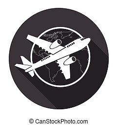 międzynarodowy, samolot, samolot, sieć, ikona