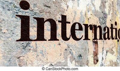 międzynarodowy, tekst, na, grunge, pojęcie