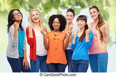 międzynarodowy, uśmiechnięty szczęśliwy, grupa, kobiety