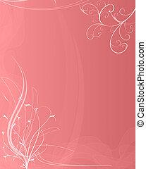 miękki, różowe tło, z, kwiatowe elementy