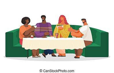 miękki, sofa, kawiarnia, albo, stół, posiedzenie, zielony, restauracja, jedzenie, przyjaciele, długi, picie