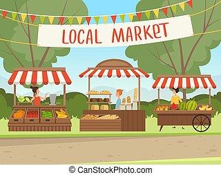 mięso, prowiantowy, market., tło, sklep spożywczy, wektor, wyroby, jadło, owoc, zakupy, ludzie, świeży, miejscowy, warzywa, organiczny, zdrowy