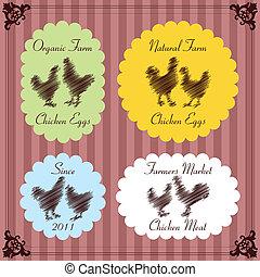 mięso, zagroda, etykiety, ilustracja, zbiór, jajko, ptaszki