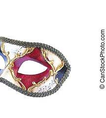 mięsopustna maska, odizolowany, wenecjanin, tło., biały