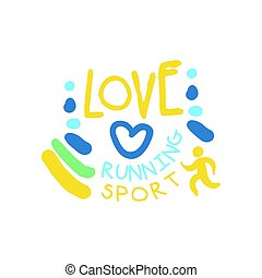 miłość, barwny, symbol., ilustracja, ręka, wyścigi, logo, pociągnięty, sport