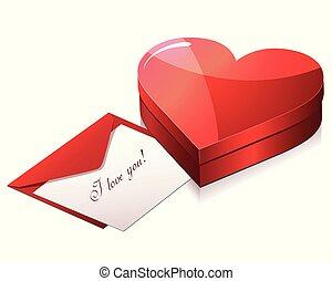 miłość, czekolada, szczęśliwy, karta, dzień, isometric, valentine, dar, wektor, s, boks