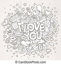 miłość, doodle, ilustracja, ręka, wektor, pociągnięty, ty, ...