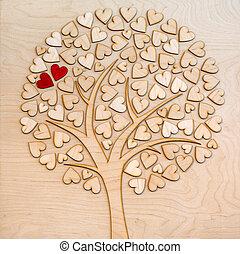 miłość, drzewo, dwa, ekologiczny, serca, czerwony