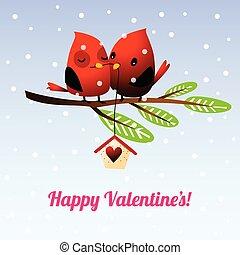 miłość, drzewo, hołubiąc, valentine, ptaszki, gałąź, dzień