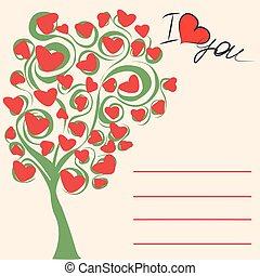 miłość, drzewo, powitanie karta