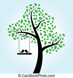 miłość, drzewo, ptaszki