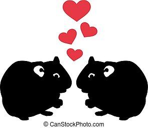 miłość, dwa, chomik