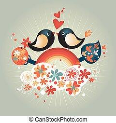 miłość, dzień, zamiana, serca, ptaszki, valentine, romantyk