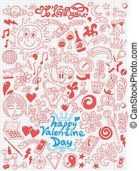 miłość, -, dzień, zbiór, doodles