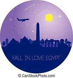 miłość, egipt, egytp, projektować, punkt orientacyjny, koło