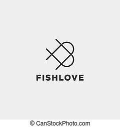 miłość, fish, odizolowany, element, wektor, projektować, logo, ikona