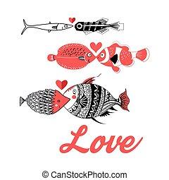 miłość, fish, powitanie karta